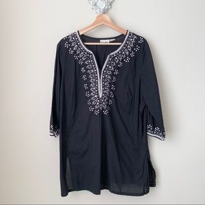 Boho black with white embroidery tunic blouse